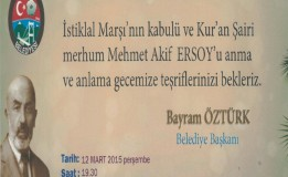 TAŞOVA BELEDİYESİ AKİF'İ ANMA VE ANLAMA GECESİ DÜZENLİYOR