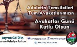 Belediye Başkanımız Bayram ÖZTÜRK'ün 5 Nisan Avukatlar Günü mesajı
