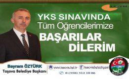 Başkan Öztürk'ten YKS Sınavına Girecek Olan Öğrencilerimize Bir Mesaj Yayımladı.