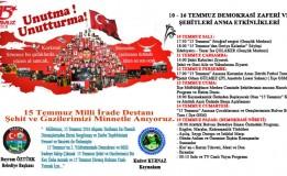 10 – 16 Temmuz Demokrasi Zaferi ve Şehitleri Anma Etkinlik Takvimi