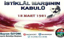 Belediye Başkanımız Bayram ÖZTÜRK İstiklal Marşımızın Kabulünün 98. Yılı Dolayısı İle Mesaj Yayımladı.